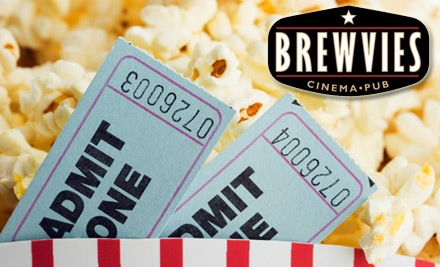 $10 for Two Tickets, Two Drinks, and a Popcorn at Brewvies Cinema Pub (Up to $20 Value)