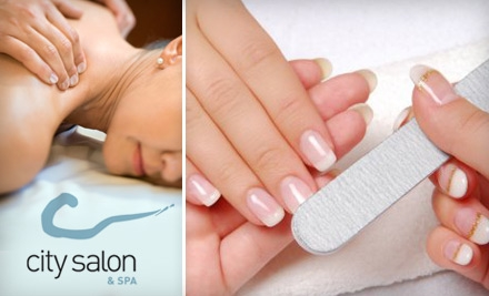 $20 for a Mani-Pedi or Massage and Eyebrow/Upper Lip Wax at City Salon and Spa (Up to $50 Value)