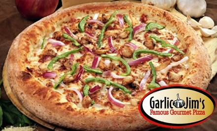 $9 for $20 Worth of Specialty Pizzas, Wings, Ribs, and More at Garlic Jim's Famous Gourmet Pizza
