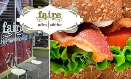 $10 for $20 Worth of Fresh Coffee, Sandwiches, Cocktails, and More at Faire Gallery Café Bar