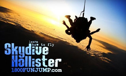 $99 for Tandem Skydive with Professional Jumper from Skydive Hollister ($169 value)