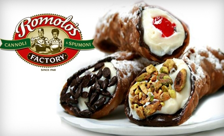 $10 for Six Cannoli or One Cannoli Kit at Romolo's Cannoli & Spumoni Factory in San Mateo