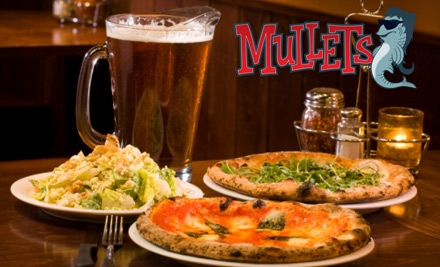 $25 for Two 14-Inch Pizzas and Two Pitchers of Beer or Soda at Mullets (Up to $58 Value)