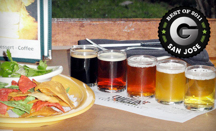 $10 for a Beer-Sampler Package for Two with One Appetizer at Faultline Brewing Company in Sunnyvale (Up to $21.95 Value)