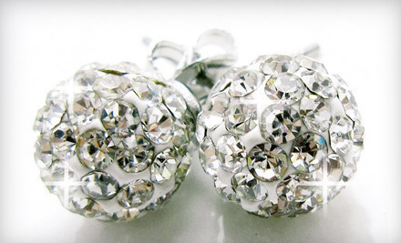 $29 for 8 mm Round Crystal-Pavé Disco-Ball Earrings with Swarovski Elements Crystals from CZ Jewels ($99.95 Value)