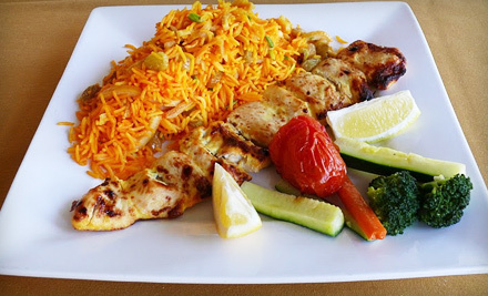 Persian Dinner with Appetizers for Two or Four, or Hookah for Two at Bijan Restaurant in Fremont (Up to 52% Off)
